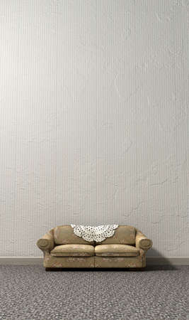 bygone: An arty look at grandmas lonely vintage sofa and interior of a bygone lonely era Stock Photo