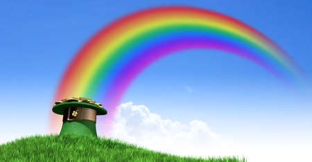 leprechaun background: A green leprechaun hat with a brown belt emblazened with a gold shamrock and overflowing with gold pieces at the end of a rainbow on a green grass hill with a clear blue sky background