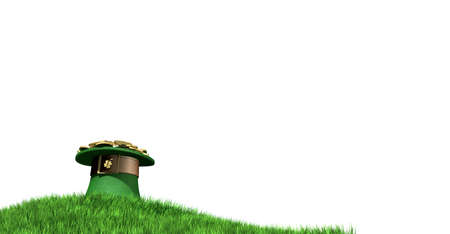 A green leprechaun hat with a brown belt emblazened with a gold shamrock and overflowing with gold pieces on a green grass hill isolated on a white background photo
