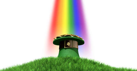 A green leprechaun hat with a brown belt emblazened with a gold shamrock and overflowing with gold pieces at the end of a rainbow on a green grass hill with a clear blue sky background photo