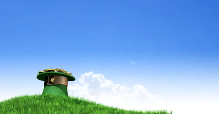 A green leprechaun hat with a brown belt emblazened with a gold shamrock and overflowing with gold pieces on a green grass hill with a clear blue sky background photo