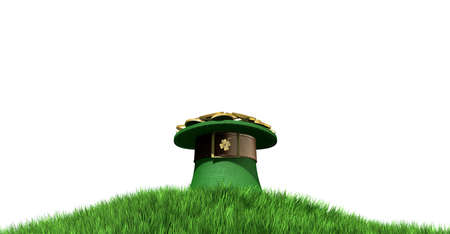 saint paddy's: A green leprechaun hat with a brown belt emblazened with a gold shamrock and overflowing with gold pieces on a green grass hill isolated on a white background Stock Photo
