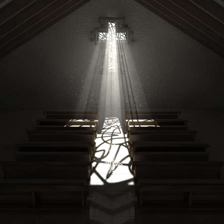 pews: An old church interior with a stained glass window in the shape of a crucifix with a spotlight rays penetrating through it reflecting the image on the floor