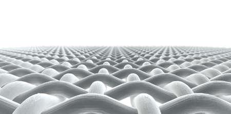 미세한 매크로 격리 된 흰색 배경에 간단한 짠 패브릭 패턴 및 스레드의 관점 뷰를 닫습니다