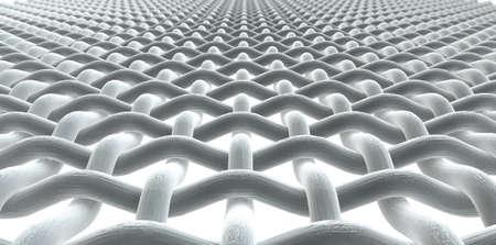 Een microscopisch macro close-up perspectief van een eenvoudige weefsel patroon en draden op een geïsoleerde witte achtergrond