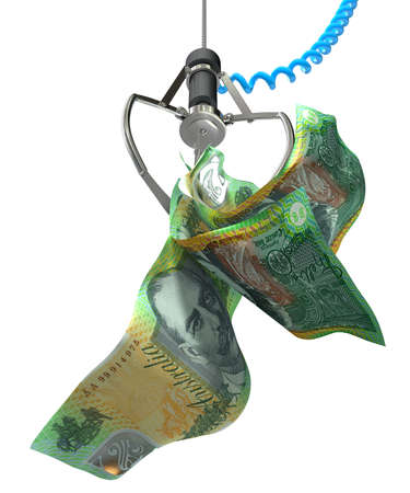 australian money: An robotic claw from an arcade type game gripping a wad of creased australian dollar notes on an isolated white background