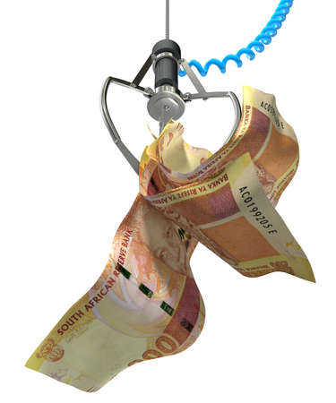 An robotic claw from an arcade type game gripping a wad of creased south african rand notes on an isolated white background photo