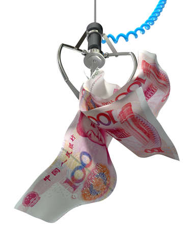 An robotic claw from an arcade type game gripping a wad of creased chinese yuan notes on an isolated white background photo