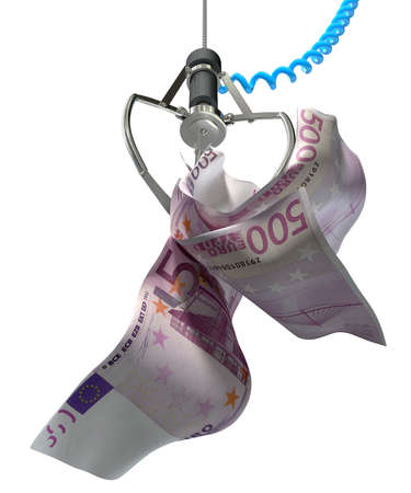 An robotic claw from an arcade type game gripping a wad of creased euro notes on an isolated white background photo