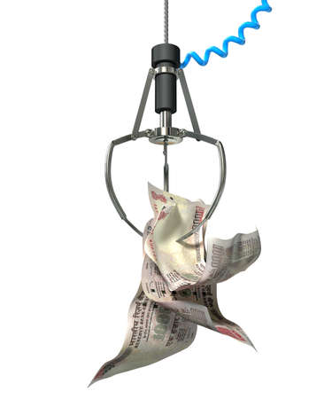 An robotic claw from an arcade type game gripping a wad of creased indian rupee notes on an isolated white background photo