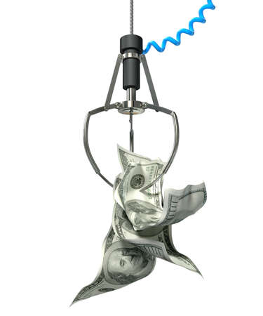 grabber: An robotic claw from an arcade type game gripping a wad of creased us dollar notes on an isolated white background
