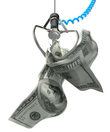 An robotic claw from an arcade type game gripping a wad of creased us dollar notes on an isolated white background photo