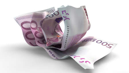 scrunched: A group of three scrunched up creased euro banknotes on an isolated white background
