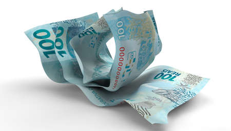 scrunched: A group of three scrunched up creased brazilian real banknotes on an isolated white background Stock Photo
