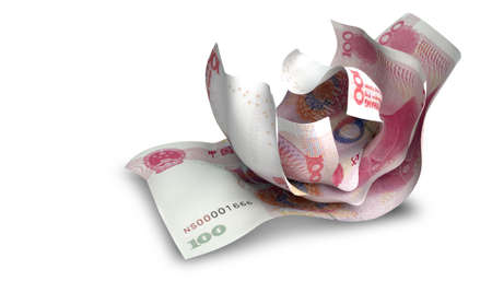 scrunched: A group of three scrunched up creased chinese yuan banknotes on an isolated white background