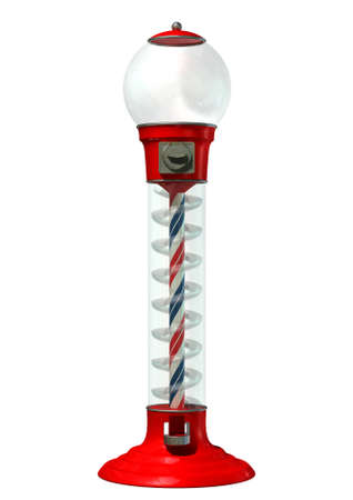 A regular empty red vintage gumball dispenser machine  photo