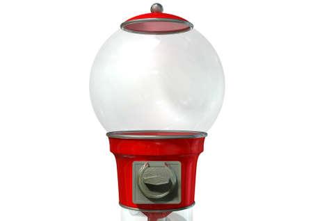 A regular empty red vintage gumball dispenser machine photo