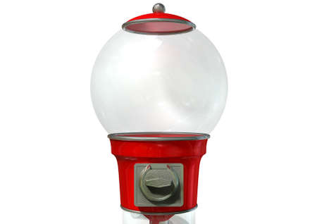 dispenser: A regular empty red vintage gumball dispenser machine