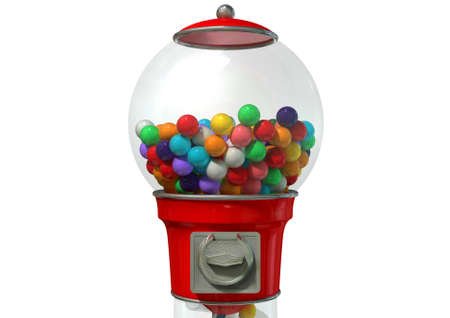 bubble gum: A regular red vintage gumball dispenser machine  Stock Photo