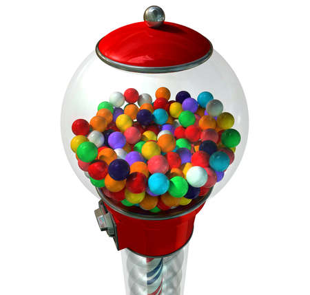 gumball: A regular red vintage gumball dispenser machine