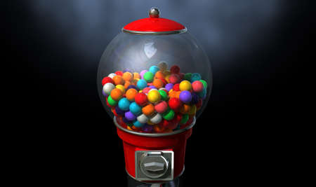 gumball: A regular red vintage gumball dispenser machine  Stock Photo