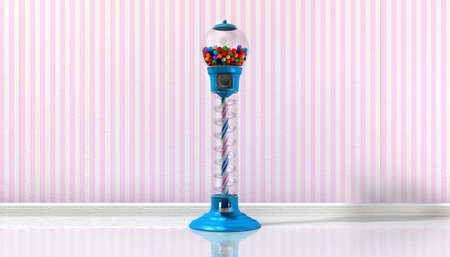 gumball: A regular blue vintage gumball dispenser machine  Stock Photo