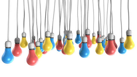 light fitting: A group of regular hanging light bulbs attached to cables in the colors
