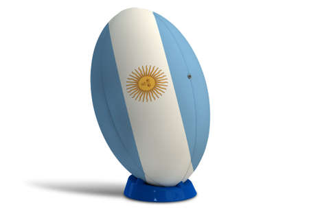 penalty flag: A textured rugby ball in the colors of the argentina national flag on a kicking tee on a isolated white background