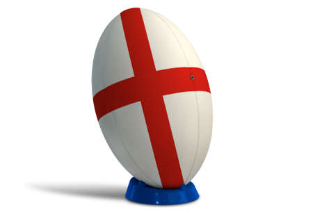 uprights: A textured rugby ball in the colors of the british national flag on a kicking tee on a isolated white background