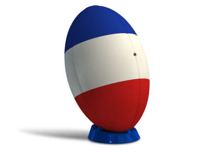 uprights: A textured rugby ball in the colors of the french national flag on a kicking tee on a isolated white background Stock Photo