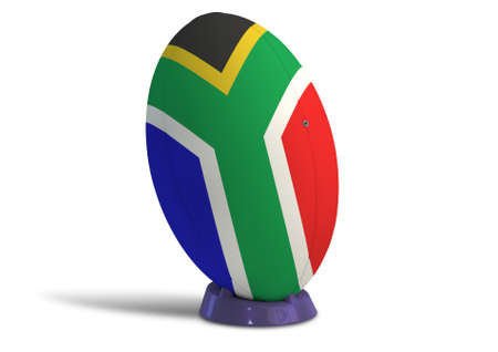 uprights: A textured rugby ball in the colors of the south african national flag on a kicking tee on a isolated white background Stock Photo