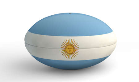 uprights: A textured rugby ball in the colors of the argentina national flag on an isolated white background Stock Photo