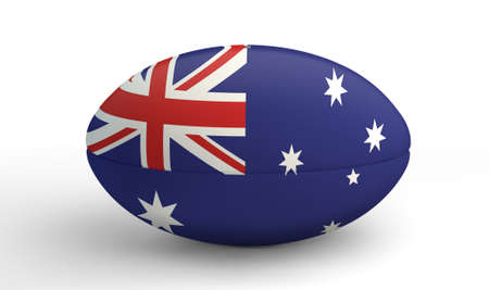 penalty flag: A textured rugby ball in the colors of the australian national flag on an isolated white background Stock Photo
