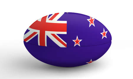 A textured rugby ball in the colors of the new zealand national flag on an isolated white background