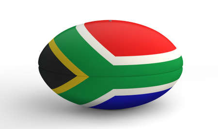 rugby team: A textured rugby ball in the colors of the south african national flag on an isolated white background