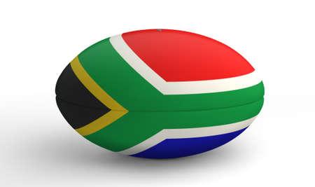 pelota rugby: Una pelota de rugby con textura en los colores de la bandera nacional sudafricano sobre un fondo blanco aislado