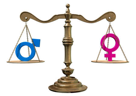 A gold justice scale with the two different gender symbols on either side balancing each other out on an isolated white background  Фото со стока