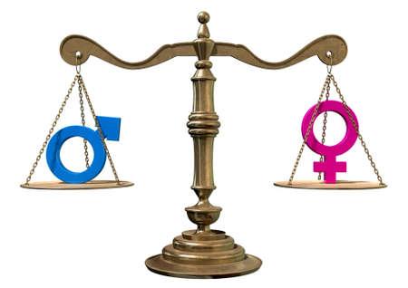 Une échelle de justice de l'or avec les deux symboles de genre différents de chaque côté s'équilibrant sur un fond blanc Banque d'images