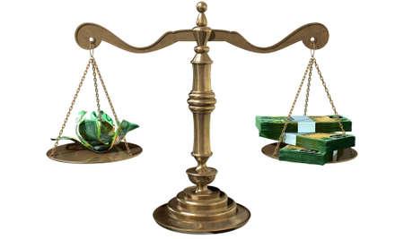 balanza justicia: Una vieja escala de la justicia de bronce de la escuela con un mont�n de notas en d�lares australianos por un lado y algunas notas arrugadas por el otro