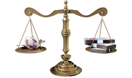 disparity: An old school bronze justice scale with stacks of euro notes on one side and a few crumpled notes on the other