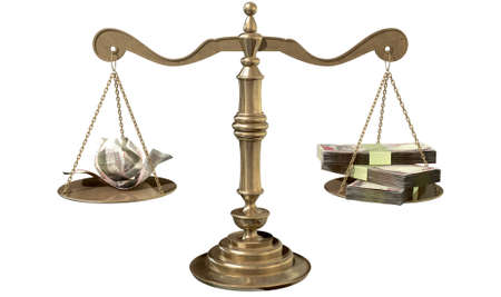 inequality: An old school bronze justice scale with stacks of indian rupee money on one side and a few crumpled notes on the other representing the inequality in the income gap  an isolated white background Stock Photo