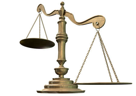unequal: An empty bronze justice scale with one side outweighing the the other on an isolated background