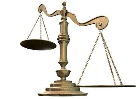 balanza justicia: Una escala de la justicia de bronce vac�a con un lado prevalezca sobre la otra sobre un fondo aislado