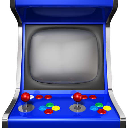 A vintage arcade game machine with colorful controllers and a screen on an isolated white background Stock Photo
