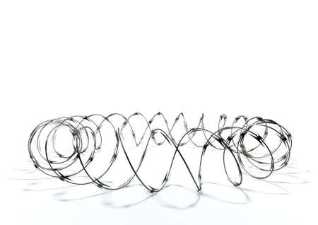 barb wire isolated: A circular shaped coil of razor wire on an isolated white background