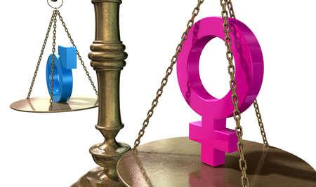 どちら側でも分離の白い背景の上にお互いを分散の 2 つの異なる性別シンボルとゴールド正義のスケール