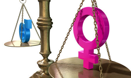 equality: A gold justice scale with the two different gender symbols on either side balancing each other out on an isolated white background  Stock Photo