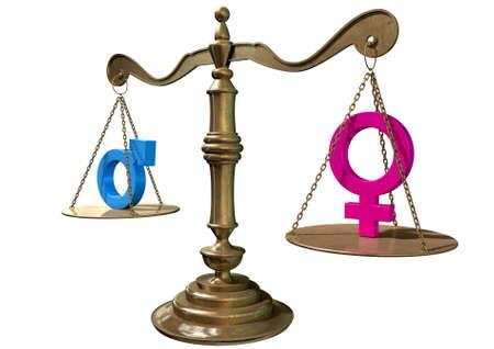 balanza justicia: A escala de la justicia de oro con los dos s�mbolos de g�nero diferentes en equilibrio entre s� a cada lado sobre un fondo blanco aislado Foto de archivo