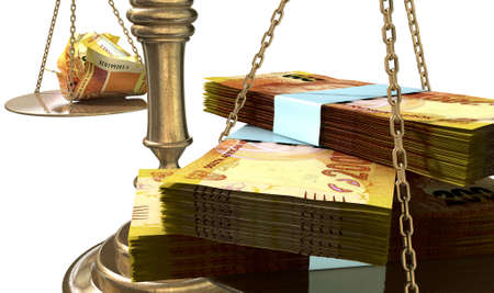 disparity: An old school bronze justice scale with stacks of south african rands on one side and a few crumpled notes on the other