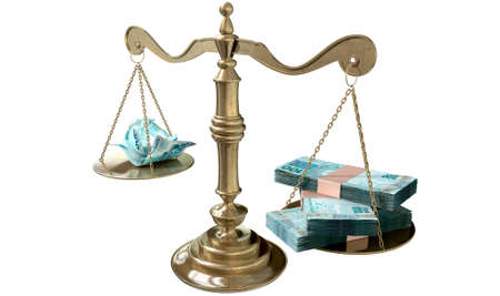 disparity: An old school bronze justice scale with stacks of brazilian real money on one side and a few crumpled notes on the other